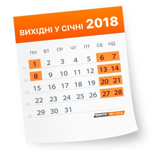 Вихідні на Новий рік 2018 (ІНФОГРАФІКА)