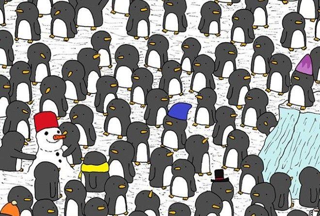 Новогодняя головоломка: найдите кружку шоколада среди пингвинчиков