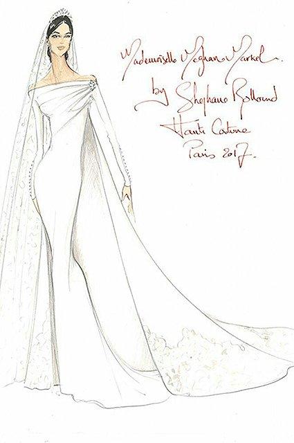 Роскошно: эскиз свадебного платья Меган Маркл слили в сеть