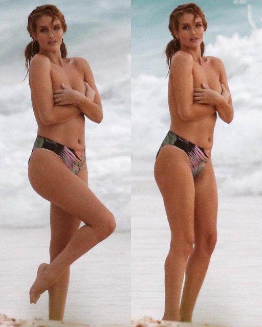 Рози Хантингтон-Уайтли поймали обнаженной на пляже