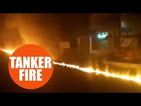 Водитель спас людей ценой ожогов, отогнав цистерну с горящим топливом. ВИДЕО