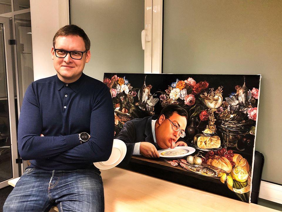 Картину с человеком похожим на Антона Геращенко купили за 666 долларов