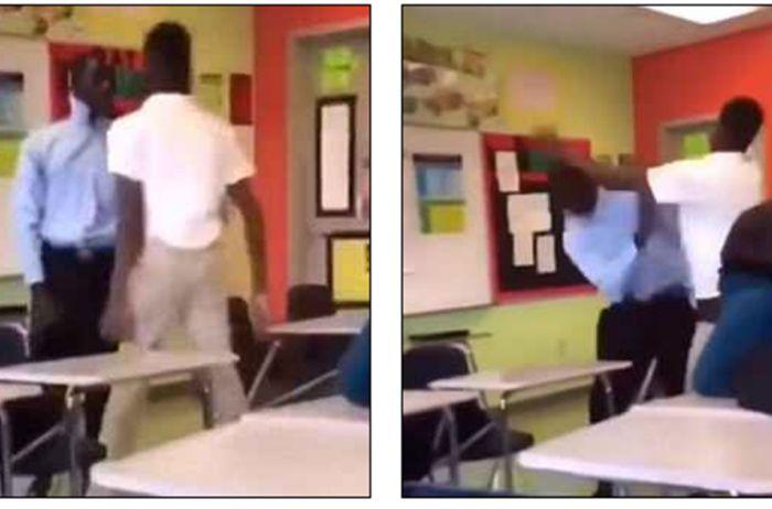 Жестокая драка между учителем и учеником попала на видео