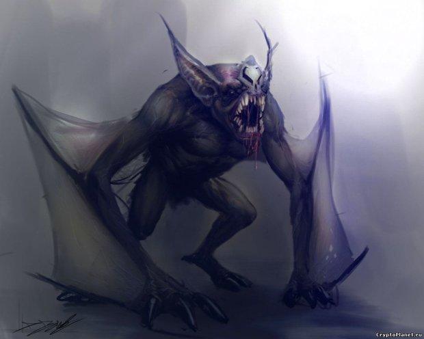 Гуманоид с крыльями: женщине удалось заснять страшное существо