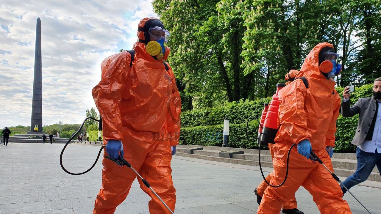 В парке Вечной Славы после Зеленского провели дезинфекцию