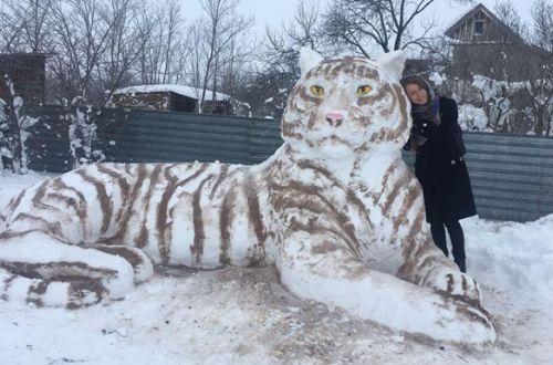 Жительница Одесщины покорила Соцсети снежным тигром