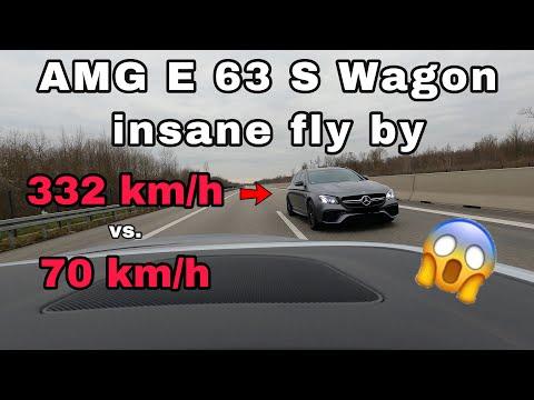 Вот как «летит» по автобану Mercedes E63 на скорости 206 миль в час. ВИДЕО
