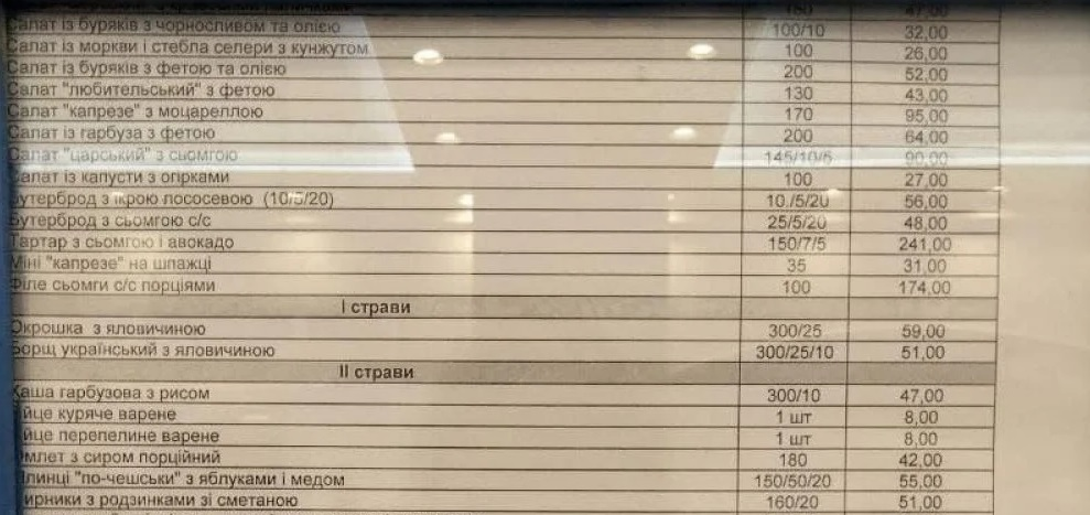 Названа стоимость блюд в столовой Верховной Рады
